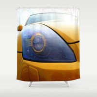 transformer Shower Curtains featuring The Eye Of A Transformer by VHS Photography