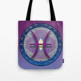 Flower of Life PISCES Astrology Design Tote Bag