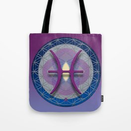PISCES Flower of Life  Astrology Design Tote Bag