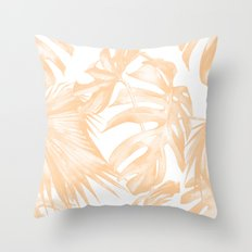 Island Vacation Hibiscus Palm Coral Throw Pillow