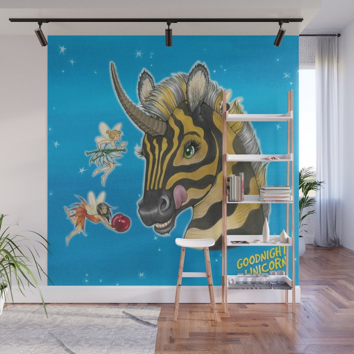 Goodnight Unicorn Zebra Wall Mural by kendystix Society6
