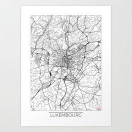 Luxembourg Map White Art Print