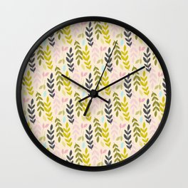 Leave playful pattern Wall Clock
