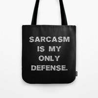 sarcasm Tote Bags featuring Sarcasm by Alisa Galitsyna
