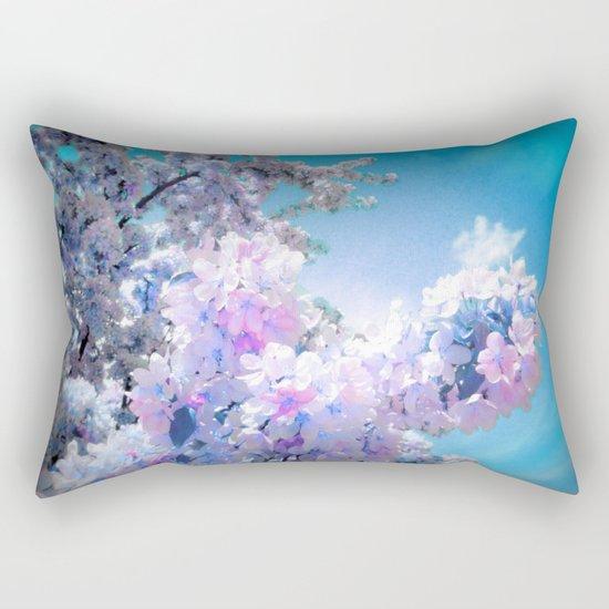 Lavender Teal Flowers Aqua Sky Rectangular Pillow