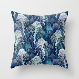 Jellyfish in deep blue Throw Pillow
