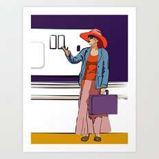 small woman by wall socket Art Print