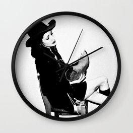 B & W Cowgirl Wall Clock