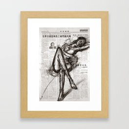 Brave - Charcoal on Newspaper Figure Drawing Framed Art Print