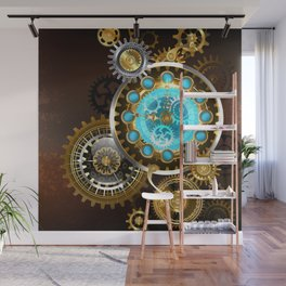 Unusual Clock with Gears ( Steampunk ) Wall Mural