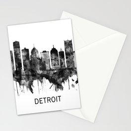 Detroit Michigan Skyline BW Stationery Cards