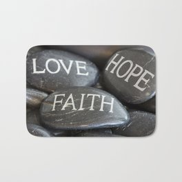Love Faith Hope Christian Quote Black Pebble Embossing Bath Mat