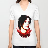selfie V-neck T-shirts featuring Selfie by Sabuchan