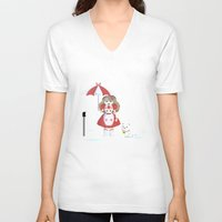 bee and puppycat V-neck T-shirts featuring Bee and Puppycat in the Rain by Paul Scott (Dracula is Still a Threat)