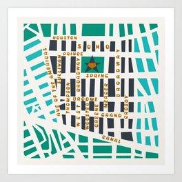 SOHO MAP NYC GREEN Art Print