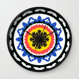 Bold and bright beauty of suzani patterns ver.9 Wall Clock