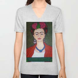 Frida portrait with dalias Unisex V-Neck