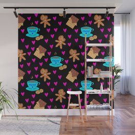 Lovely sweet gingerbread men cookies, chocolate, cups of hot cocoa, cute hearts hygge winter pattern Wall Mural