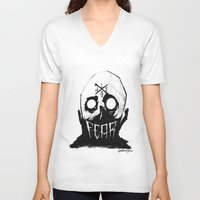 fear V-neck T-shirts featuring Fear by Jonathan Silence