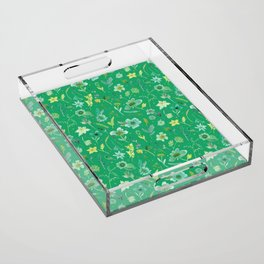 Verdant Flowers on Emerald Background Acrylic Tray
