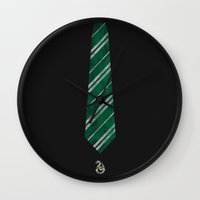 slytherin Wall Clocks featuring Slytherin by Zach Terrell