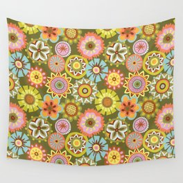 "Button Flowers-""Believe"" Colorway Wall Tapestry"