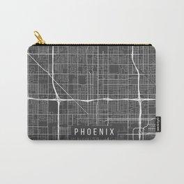 Phoenix Map, Arizona USA - Charcoal Portrait Carry-All Pouch