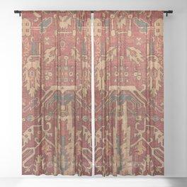 Vintage Persian Woven Wool Orange Red Sheer Curtain