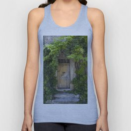 Provence Door covered with green vines Unisex Tank Top