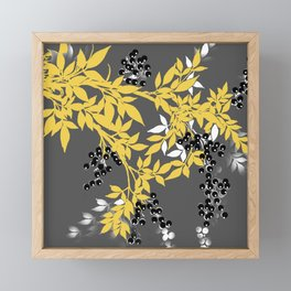 TREE BRANCHES YELLOW GRAY  AND BLACK LEAVES AND BERRIES Framed Mini Art Print