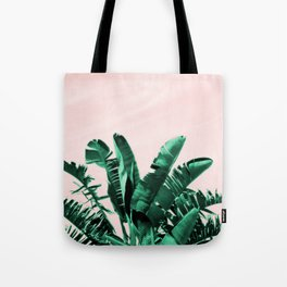 Turquoise Banana and palm Leaves Tote Bag