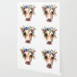 Cow Head, Floral Farm Animal Artwork farm house design, cattle Wallpaper