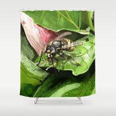 Wasp on flower16 Shower Curtain