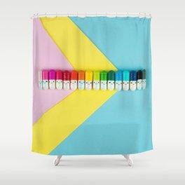 Happy little rainbow pills Shower Curtain