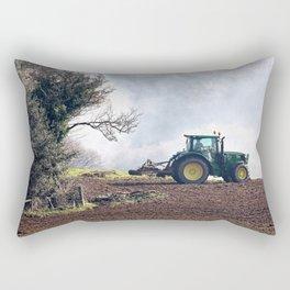 Tractor harrowing farm field Rectangular Pillow