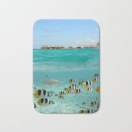 Diving with sharks on Bora Bora Bath Mat
