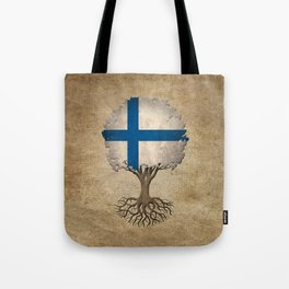 Vintage Tree of Life with Flag of Finland Tote Bag