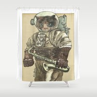 saxophone Shower Curtains featuring Space Cat with Saxophone by Felis Simha