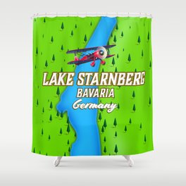 Lake Starnberg Bavaria Germany travel poster Art Print Shower Curtain