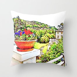 Fognano: view with flowerpot Throw Pillow