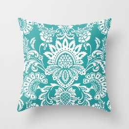 Damask in emerald Throw Pillow