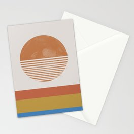Sunshine, Modern Abstract Landscape, Sun Stationery Cards
