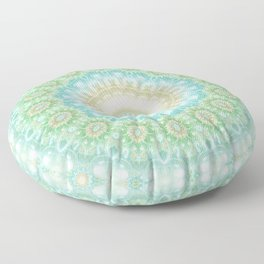 Earth and Sky Mandala in Pastel Blue and Green Floor Pillow