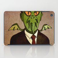 lovecraft iPad Cases featuring Prophets of Fiction - H.P. Lovecraft /Cthulhu by niles yosira