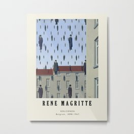 Poster-Rene Magritte-Golconda. Metal Print