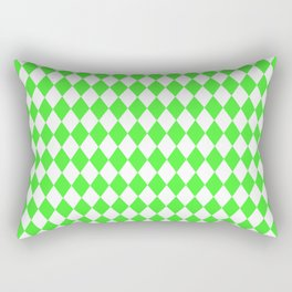 Bright Neon Green and White Harlequin Diamond Check Rectangular Pillow