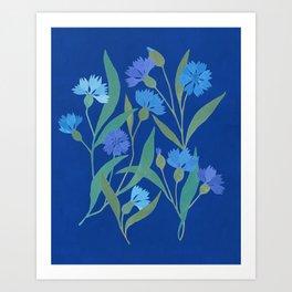 Cornflower field on bright blue Art Print
