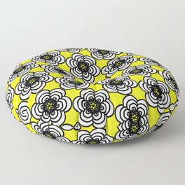 Yellow and Black Flowers Floor Pillow
