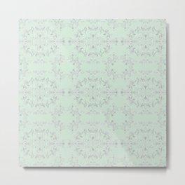 silver filigrane- floral design-tapestry and home decor-romantic-aqua Metal Print