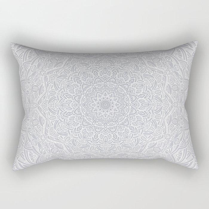 Most Detailed Mandala! Cool Gray White Color Intricate Detail Ethnic Mandalas Zentangle Maze Pattern Rectangular Pillow